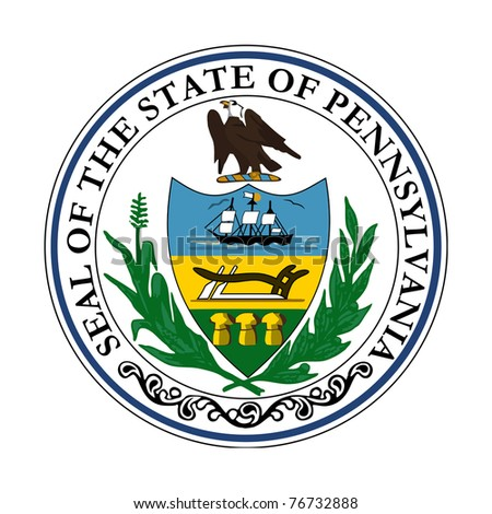 Seal of American state of Pennsylvania; isolated on white background. - stock photo