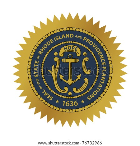 Seal of American state of Rhode Island; isolated on white background.