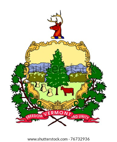 Seal or coat of arms of American state of Vermont; isolated on white background.