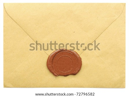 sealed brown envelope isolated on white background
