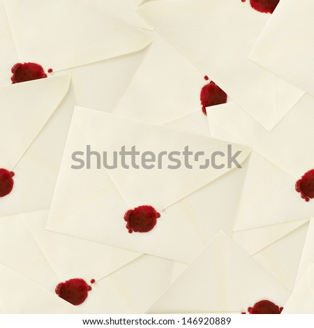 Sealed with the red wax envelopes as a seamless background pattern - stock photo