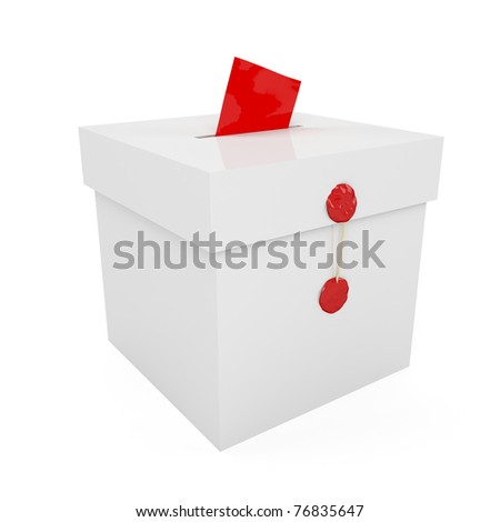 Sealed with wax ballot box with inserted paper