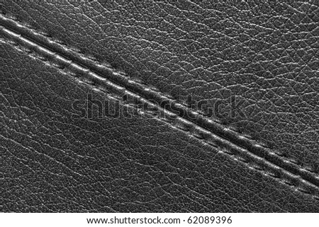 Seam on leather product (close up)