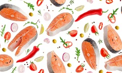 Seamles pattern of flying salmon with vegetables and herbs iolated on white