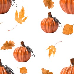 Seamles pattern with ceramic pumpkin and autemn leaves. Thanksgiving pattern.
