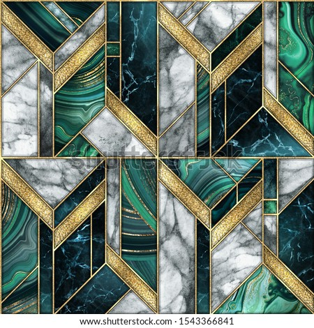 seamless abstract background, modern marble malachite gold mosaic, art deco wallpaper, artificial stone texture, white green marbled tile, geometrical fashion marbling illustration