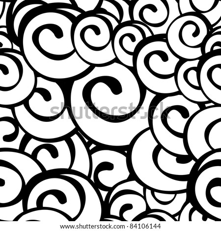 Seamless abstract black and white spiral pattern - illustration - stock photo