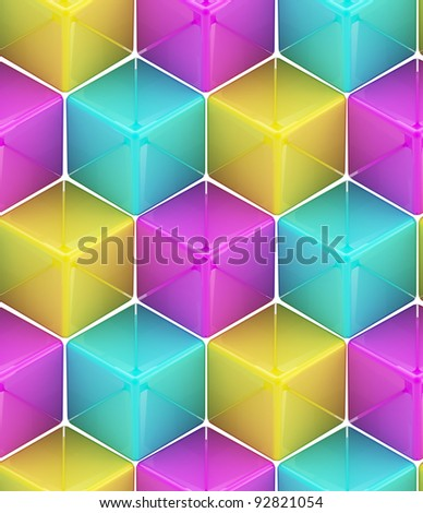 Seamless abstract colorful background made of cubes and hexagons