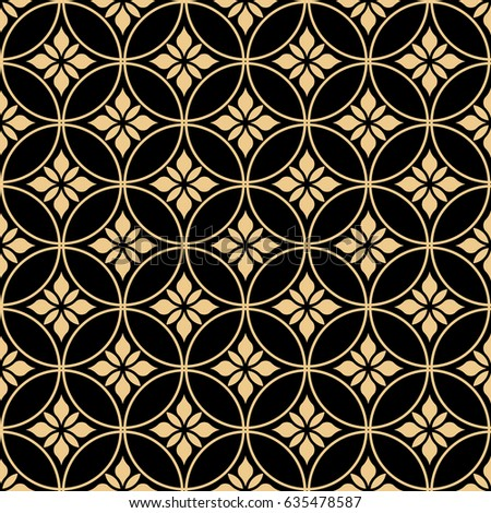 Seamless abstract floral pattern. Gold and black ornament. Graphic modern pattern.