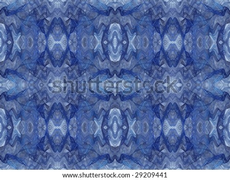 Seamless abstract fractal wallpaper, textile pattern or background in shades of blue.