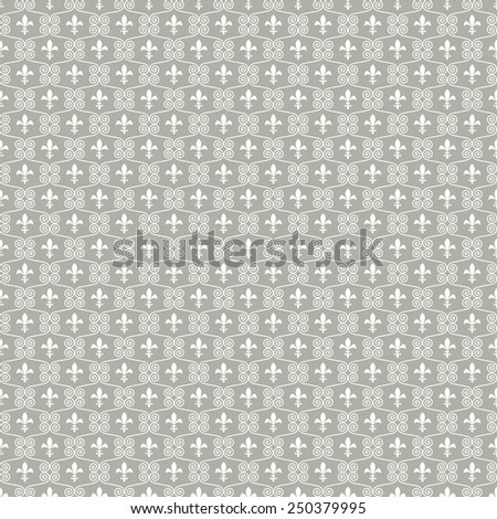 Seamless abstract gray background of the royal lilies  . Raster