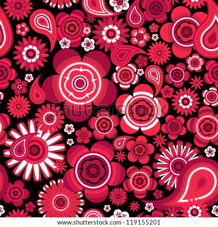 seamless - abstract red pattern with flowers. For easy making seamless pattern just drag all group into swatches bar, and use it for filling any contours.