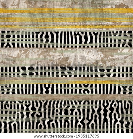 Seamless animal inspired ethnic stripe line pattern. High quality illustration. Tribal intricate and highly textured stripes interspersed with patterned stripes. Chaotic montage design.