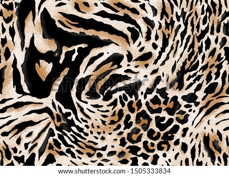 Seamless animal print, leopard, zebra, tiger pattern