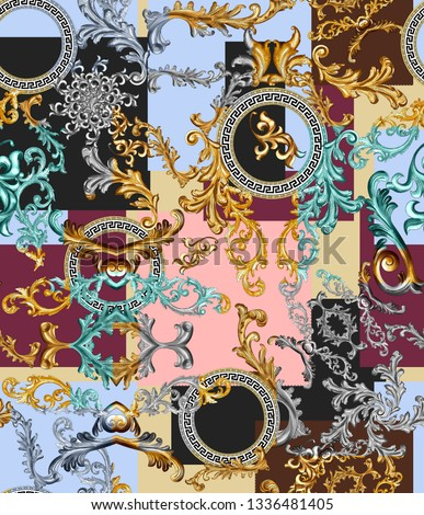 seamless antique golden baroque and geometric background  patchwork print pattern. all over. greek meander