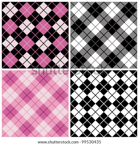 Seamless argyle-plaid patterns in trendy pink and black.