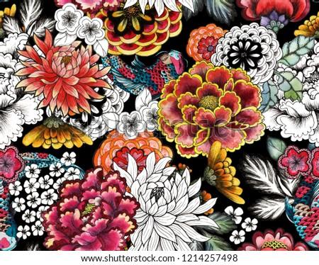 Seamless asian traditional patterns. Japanese painted flowers peonies, chrysanthemums, dahlias, carp