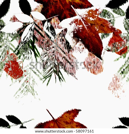 Seamless Autumn Falling Leaves Art Abstract Design
