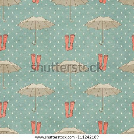 Seamless autumn pattern on paper texture