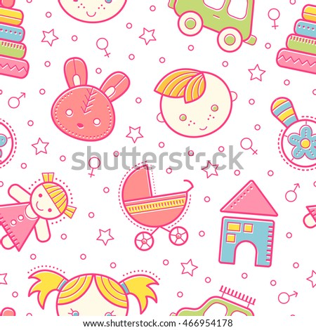 Seamless baby pattern with colorful babyish elements (toys, boys and girls). Happy bright color palette