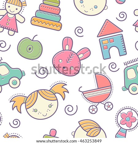Seamless baby pattern with colorful babyish elements (toys, boys and girls). Happy pastel color palette