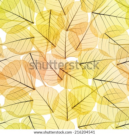 Seamless Background - Autumn Leaves Pattern texture , golden color