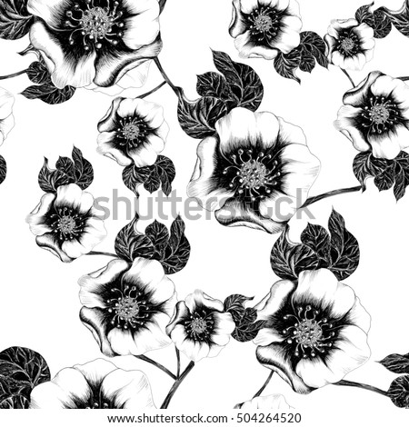 Seamless background. Collage of flowers and leaves on a white background. Use printed materials, signs, items, websites, maps, posters, postcards, packaging.
