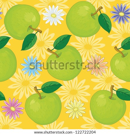 Seamless background, colorful flowers and green apples on yellow.