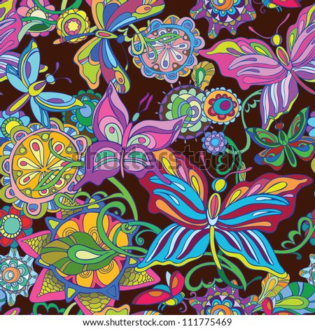 Seamless  background. Flying butterfly and fairy flowers. Bright decor on a dark background. raster version