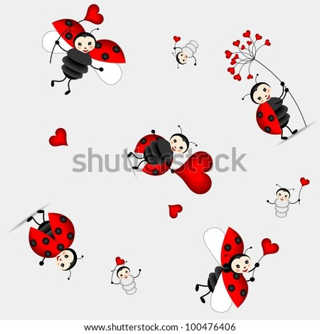 seamless background for children with beautiful ladybug and red hearts - bitmap copy