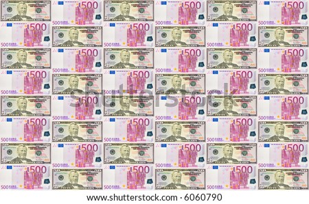 seamless background from dollars and euro banknotes