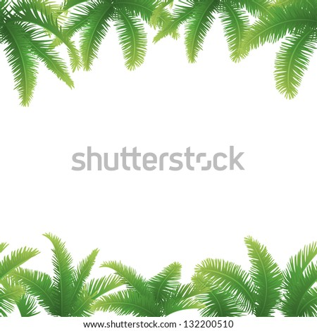 Seamless background, green branches with leaves of palm trees.