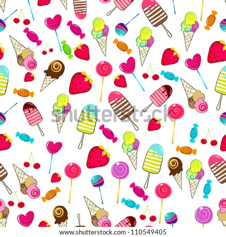 Seamless background illustration of cute, hand drawn style summer ...