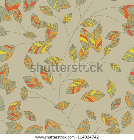 Seamless background leaf for retro design