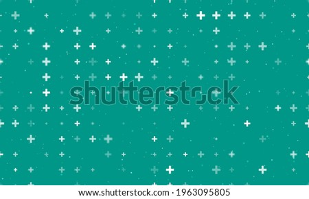 Seamless background pattern of evenly spaced white plus symbols of different sizes and opacity.  illustration on teal background with stars Photo stock ©