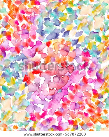 Seamless background pattern with bright pink, turquoise blue and yellow dots and stains painted in watercolor
