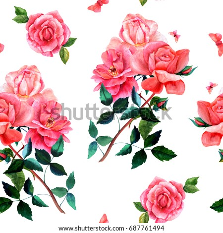 Seamless background pattern with watercolor drawings of red and pink rose flowers and butterflies, on white, hand painted in style of vintage botanical art. A romantic botanical bouquet repeat print