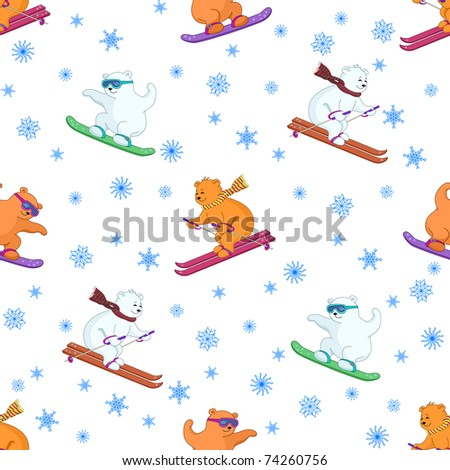 seamless background, teddy bears ski on a snowboard and skis