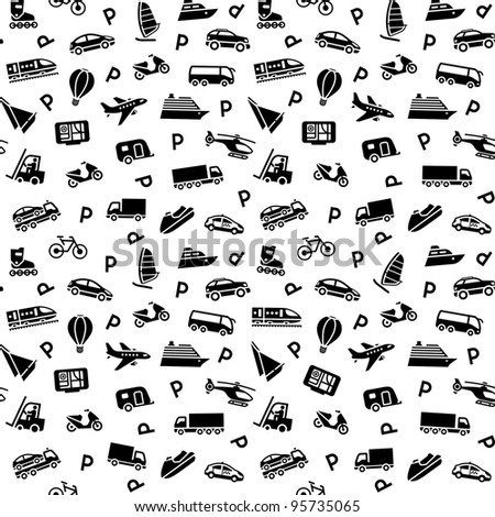 Seamless background, transport icons, wallpaper. Bitmap copy my vector ID 91315634