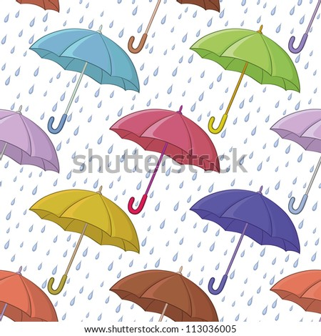 Seamless background, various colorful umbrellas and blue rain drops on white - stock photo