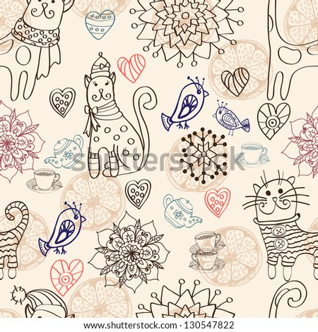 Seamless background with cats, birds, flowers and hearts