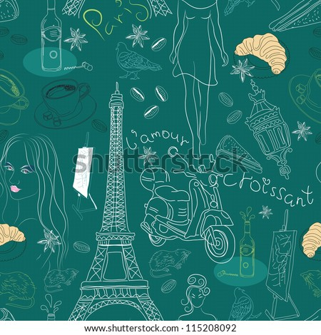 Seamless background with different Paris doodle elements, illustration for design