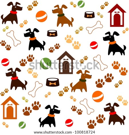 Seamless background with dogs. Illustration