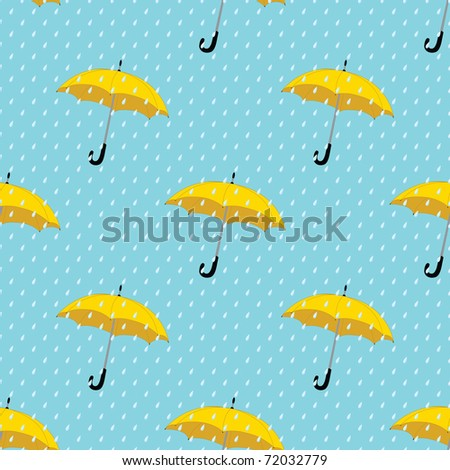 seamless background with drops raining umbrellas