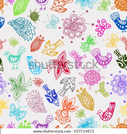 Seamless Background with funny birds and flowers, cute hand drawn illustration