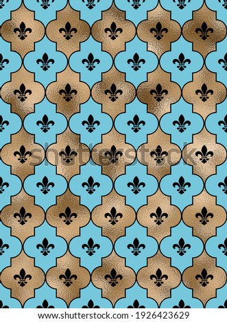 Seamless background with lily fleur de Lis. Turquoise blue gold pattern with heraldic symbol fleur-de-lis. Modern abstract pattern. Illustration Photo stock ©