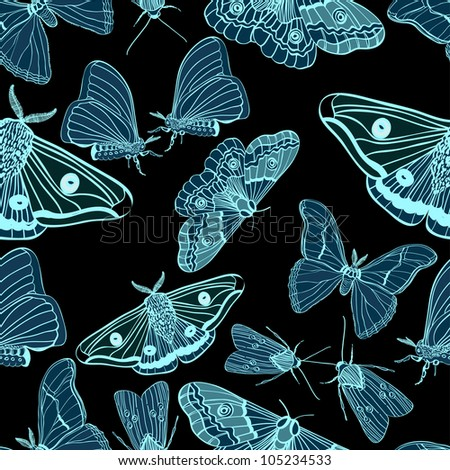 Seamless background with moth, black and blue, for design, illustration