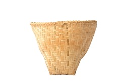 Seamless bamboo wicker basket isolated on white background