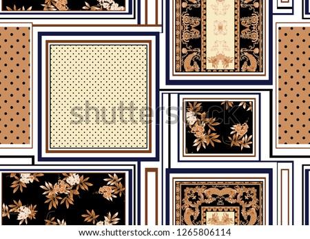 seamless baroque, polka dots, flowers, stripe, square, patchwork pattern. vintage