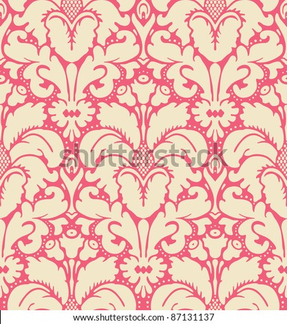 Seamless baroque style damask background:raster version